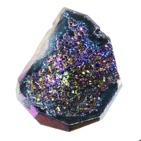 Agate Titanium Druzy Gemstone, Assorted Top-Drilled, Medium 21-30mm, 1 Pc, Blue Iris