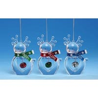 Club Pack of 12 Icy Crystal Decorative Christmas Deer Ornaments 3.5""
