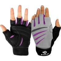Bionic Women's Cross-Training Fingerless Fitness Gloves - Gray/Black/Purple