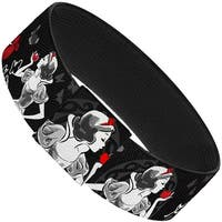 "Snow White Apple Poses Butterflies Black Gray Red Elastic Bracelet   1.0"" Wide"