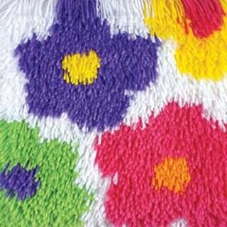 "Flowers - Shaggy Latch Hook Kit 12""X12"""
