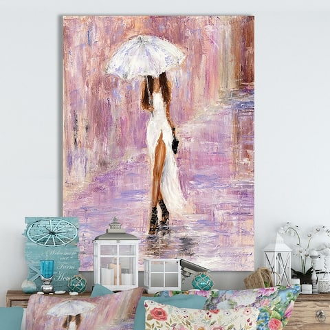 Designart 'Woman in white' Cottage Canvas Wall Art