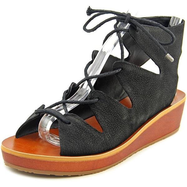 Lucky Brand Hipsta Women Open Toe Leather Black Wedge Sandal