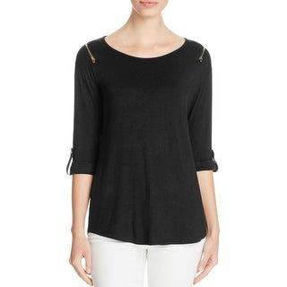 K&C Womens Pullover Top Cold Shoulder Zipper - m