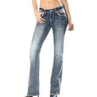 Grace in LA Denim Jeans Womens Bootcut Mid Rise Light Wash JB81136