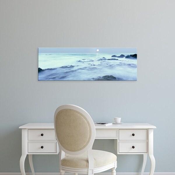 Easy Art Prints Panoramic Image 'Full moon over Baja California coast, Las Rocas, Baja California, Mexico' Canvas Art