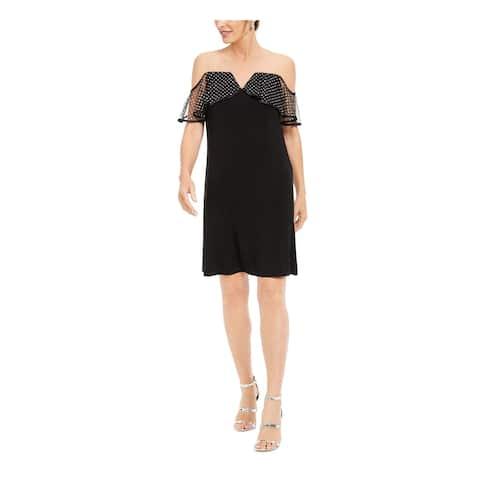 MSK Black Short Sleeve Knee Length Shift Dress Size L