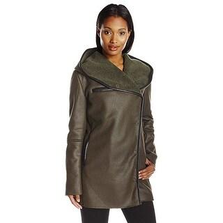 Sam Edelman Women's Sydney Hooded Faux Shearling Olive Large Jacket