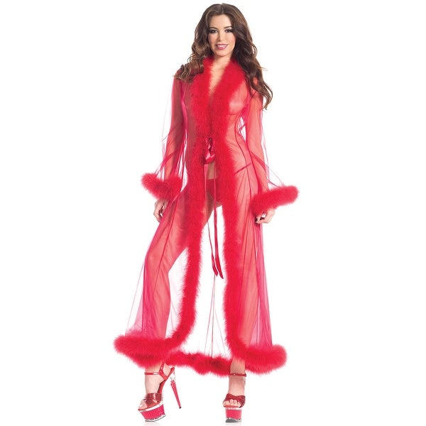 11821c7c7a86d Shop Sheer Illusion Marabou Robe - One Size Fits Most - Free Shipping Today  - Overstock - 27736315