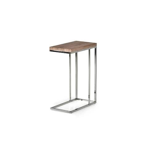 Lennox Chrome and Faux Wood Chairside Table by Greyson Living