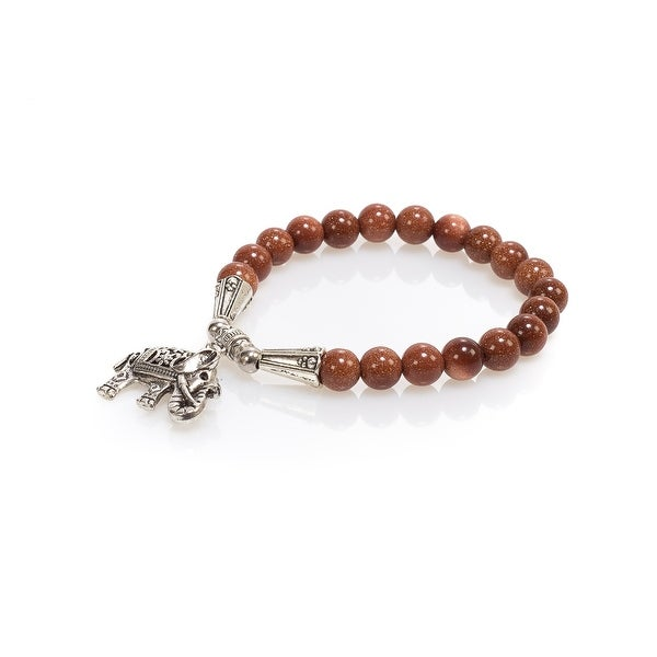 Natural Stone Meditation Stretch Bracelet Tibetan Mala with Good Luck Charm Elephant, Old Stone