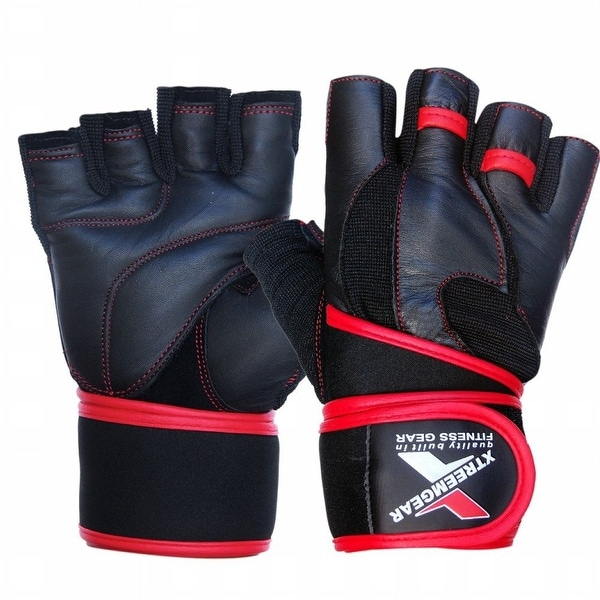 Weight Lifting Fitness Leather Gym Gloves Gel Padded Cowhide Long Strap Red G6Red