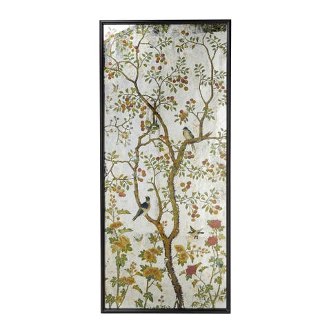 """Large Vintage Flower Bird and Tree Metal and Glass Wall Art 31.5"""" x 71"""""""