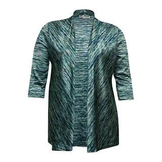 JM Collection Women's Sheen Knit Open Cardigan - teal space dye