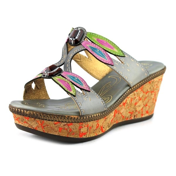 L'Artiste Queenston Women Open Toe Leather Gray Wedge Sandal