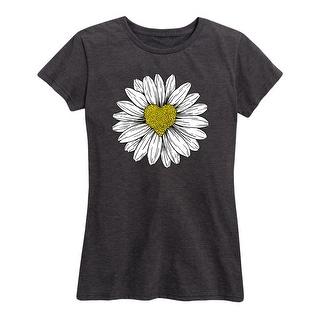 Daisy Heart Drawing  - Women's Short Sleeve Graphic T-Shirt
