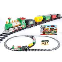 18-Piece Battery Operated Lighted and Animated Classic Model Train Set with Sound - green