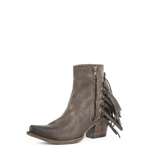 Stetson Fashion Boots Womens Evie Zip Fringe Brown