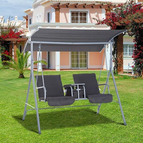 Jamna Water-resistant Patio Swing with Center Pivot Table by Havenside Home
