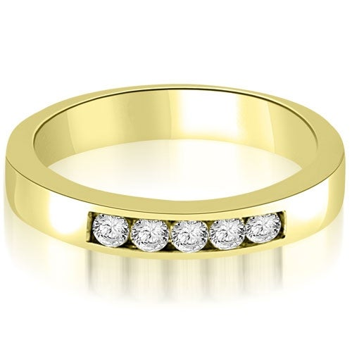 0.25 cttw. 14K Yellow Gold Round Diamond 5-Stone Channel Wedding Band