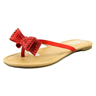 INC International Concepts Malissa Women Open Toe Canvas Red Thong Sandal