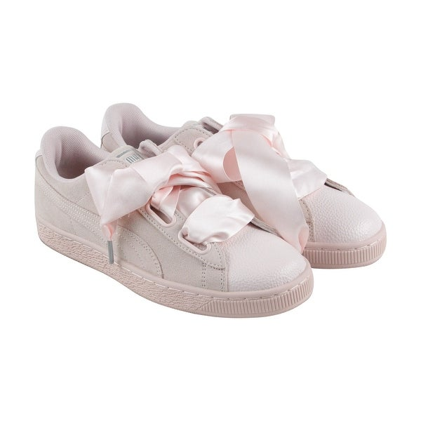 buy popular 5c5d2 da0e2 Puma Heart Bubble Womens Pink Suede Lace up Sneakers Shoes