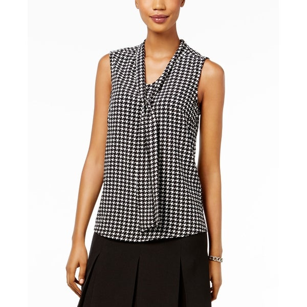 bb0e5b60630c Shop Kasper Black Women s Size XL Houndstooth-Print Tie-Neck Blouse - Free  Shipping On Orders Over  45 - Overstock.com - 27220064