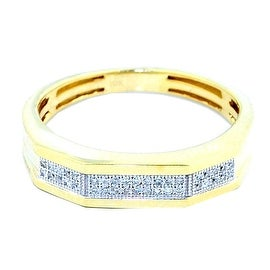 Mens Wedding Band Ring 10K Yellow Gold 1/10cttww Pave Diamonds 5mm Wide