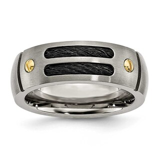 Titanium Grooved Black Plated Gold-Plated Accent 8Mm Brushed Band (More options available)