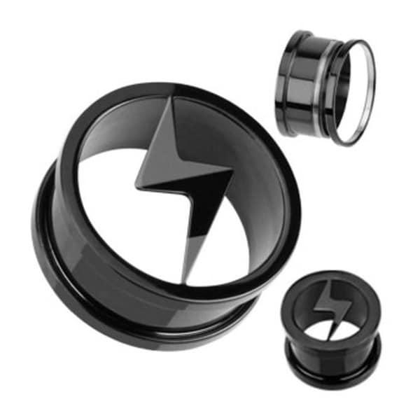 Blackline Titanium Anodized Screw-Fit Lightning Thunder Bolt Logo Tunnel Plug (Sold Individually)