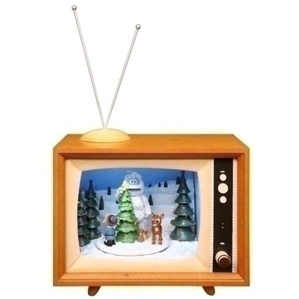"7"" Musical Animated Rudolph Winter Scene TV Box Christmas Decoration - brown"