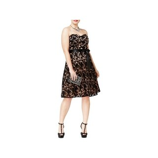 City Chic Womens Plus Semi-Formal Dress Jeweled Lace