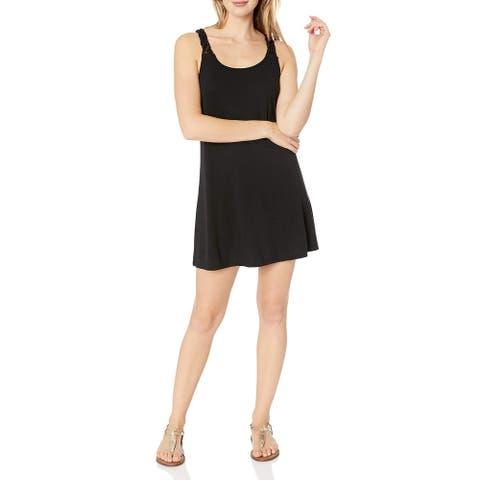 J. VALDI Womens Swimwear Black Size Small S Macrame Back Cover-Up Dress