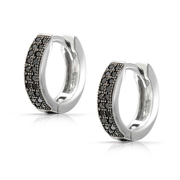 925 Sterling Silver Rhodium Finish Micro Pave CZ Hoop Earrings