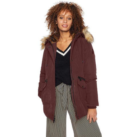 Vince Camuto Women's Casual Heavy Weight Hooded Dowm Jacket, Burgundy, Small