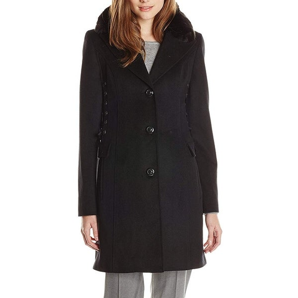 Betsey Johnson Deep Black Womens Size XS Button-Front Coat Wool