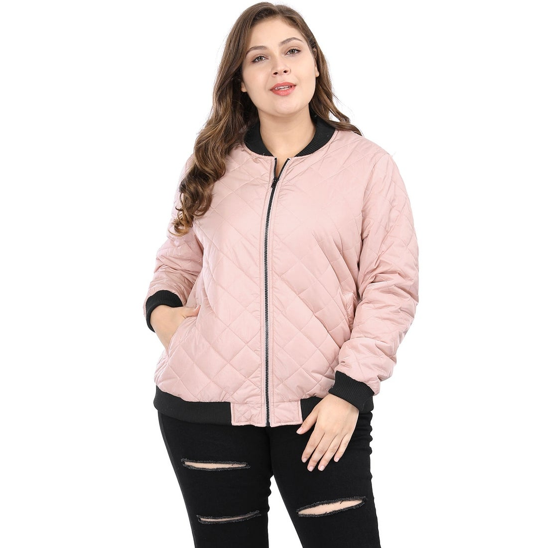 Women S Plus Size Contrast Trim Zip Up Quilted Jacket Pink