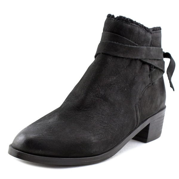 Aldo Mykala-93 Women Round Toe Leather Black Ankle Boot