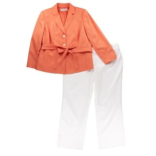Tahari Womens Plus Zachary Textured Lined Pant Suit - 22W