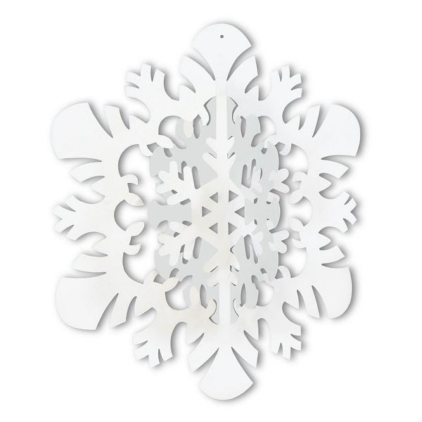 "Club Pack of 12 Winter Wonderland Themed 3-D Snowflake Hanging Party Decorations 14"" - WHITE"