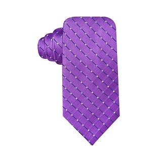 Geoffrey Beene Hand Made Dot Grid Classic Tie Purple - One Size Fits most