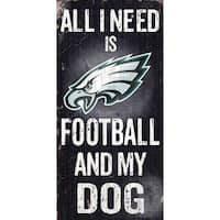 "Philadelphia Eagles Wood Sign - Football and Dog 6""x12"""