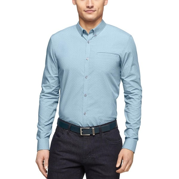 Calvin Klein Slim Fit Micro Checked Cross Dobby Shirt XX-Large Neptune Blue