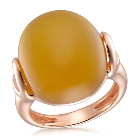 Forever Last 18 kt Gold Plated Women's Rose Plated Ring with Orange Calchedony Cabochon Ring