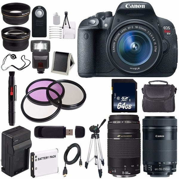 Canon EOS Rebel T5i 18 MP CMOS DSLR Camera w/EF-S 18-55mm(International Model) + Canon EF-S 55-250mm Lens Bundle