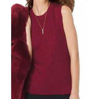 Michael Kors NEW Red Metallic Women's Size Large L Vest Ribbed Sweater