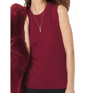 Michael Kors NEW Red Metallic Women's Size XL Vest Ribbed Sweater