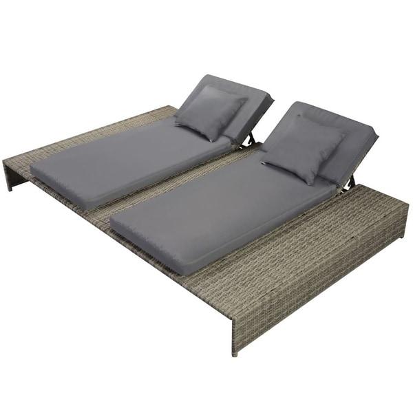 "vidaXL Double Sun Lounger with Cushion Poly Rattan Gray - 82.7"" x 55.1""/63.4"" x 9.1""/24.8"""