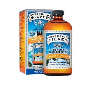 Sovereign Silver Bio-Active Silver Hydrosol for Immune Support (Family Size) - 10 ppm - 32oz