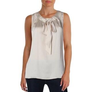Tommy Hilfiger Womens Blouse Textured Tie Neck